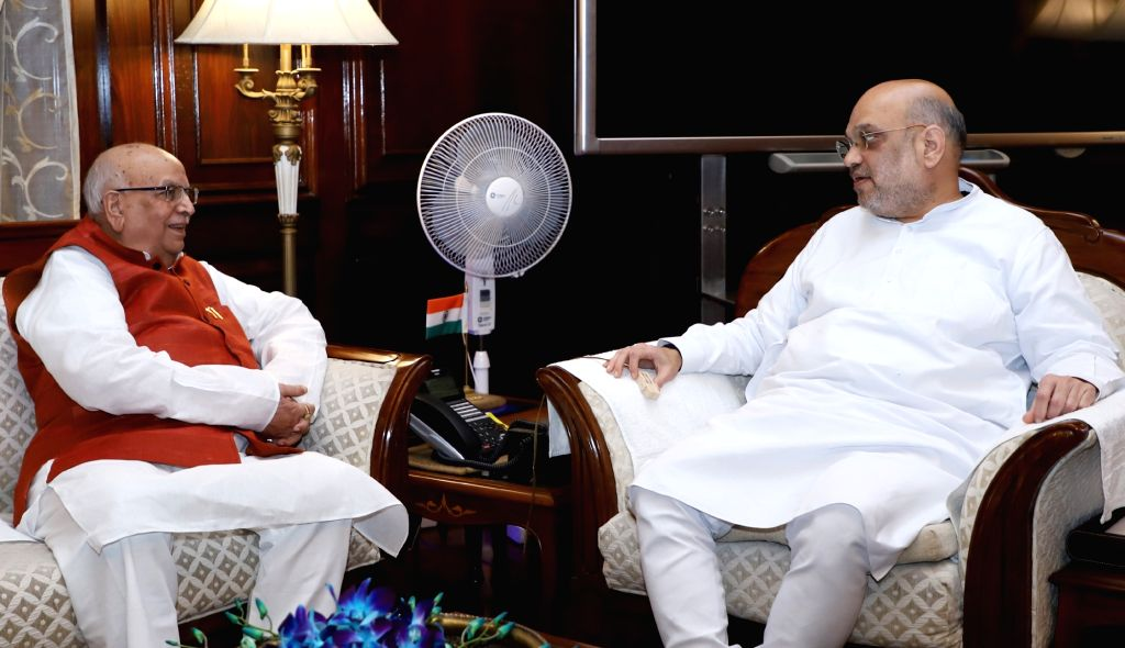 Madhya Pradesh Governor Lalji Tandon calls on Union Home Minister Amit Shah, in New Delhi on Aug 27, 2018. - Amit Shah