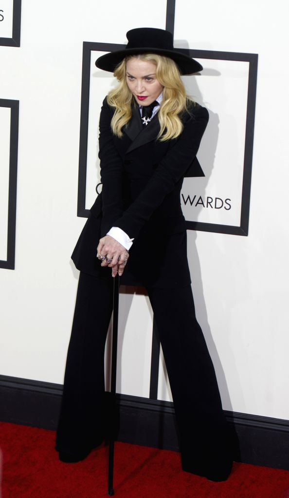 : Madonna Ciccone arrives on the red carpet for the 56th Grammy Awards at the Staples Center in Los Angeles, the United States, on Jan. 26, 2014.  (Xinhua/Yang ...