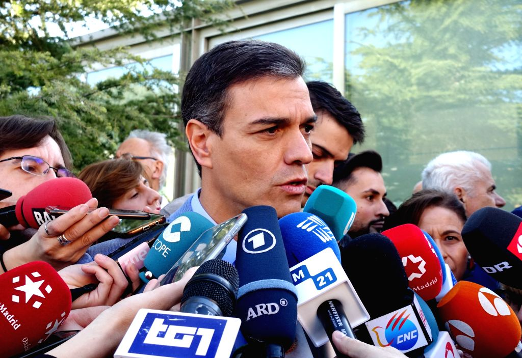 MADRID, April 28, 2019 - Spanish Prime Minister Pedro Sanchez (C) speaks to media after casting his ballot at a polling station in Madrid, Spain, April 28, 2019. Spain's polling stations opened on ... - Pedro Sanchez