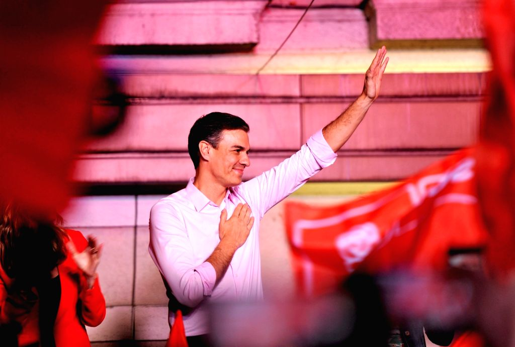 MADRID, April 29, 2019 - Spain's Prime Minister Pedro Sanchez greets supporters at the headquarters of the Spanish Socialist Party (PSOE) in Madrid, Spain, on April 28, 2019. The Spanish Socialist ... - Pedro Sanchez