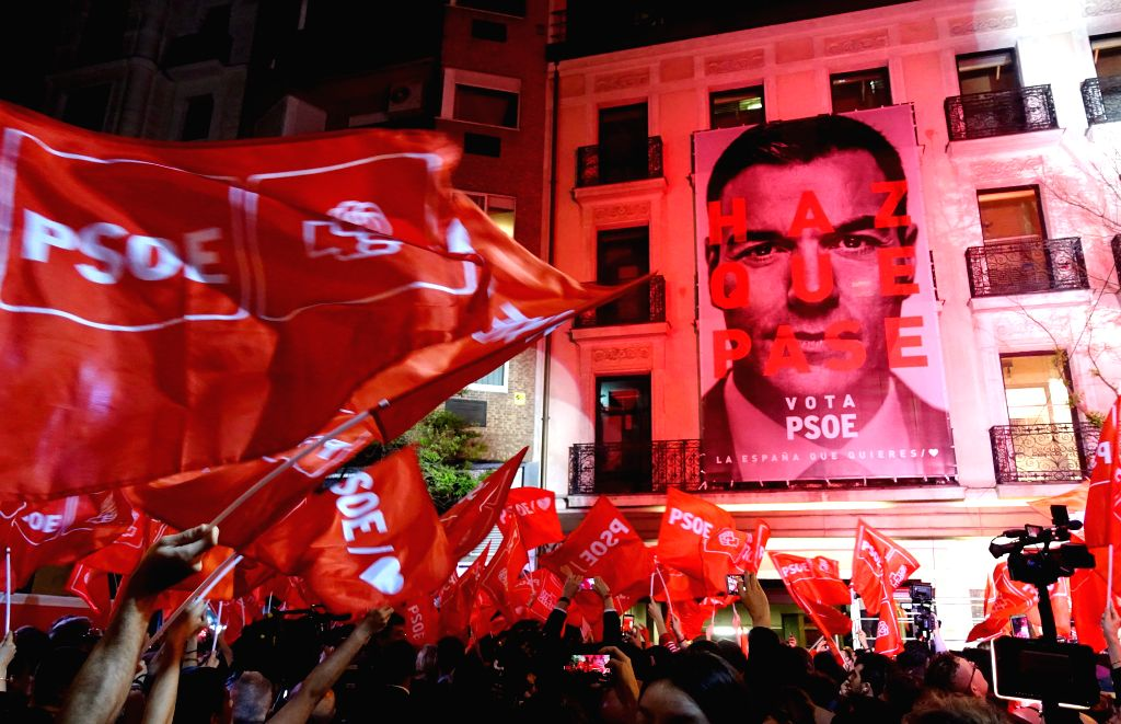 MADRID, April 29, 2019 - Supporters of the Spanish Socialist Party (PSOE) celebrate victory at its headquarters in Madrid, Spain, on April 28, 2019. The Spanish Socialist Party of Prime Minister ... - Pedro Sanchez