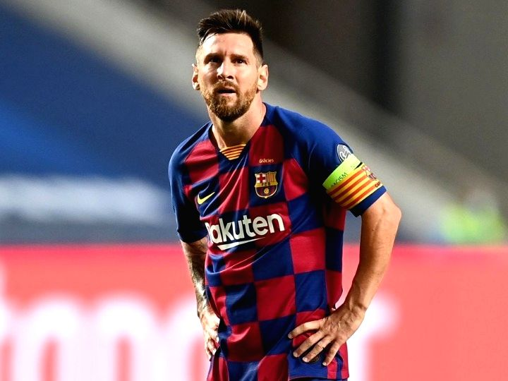 Madrid, Aug. 29, 2020 (Xinhua) -- Lionel Messi of Barcelona reacts after his team concede during the 2019-2020 UEFA Champions League quarterfinal match between Bayern Munich and Barcelona in Lisbon, Portugal, Aug. 14, 2020. (UEFA/Handout via Xinhua/I