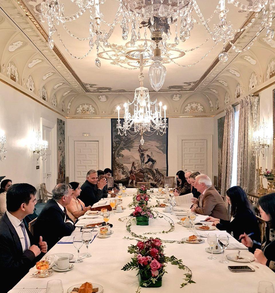 Madrid: External Affairs Minister Sushma Swaraj meets Spanish Foreign Minister Josep Borrell Fontelles in Madrid, Spain, on Feb 19, 2019. (Photo: IANS/MEA) - Sushma Swaraj