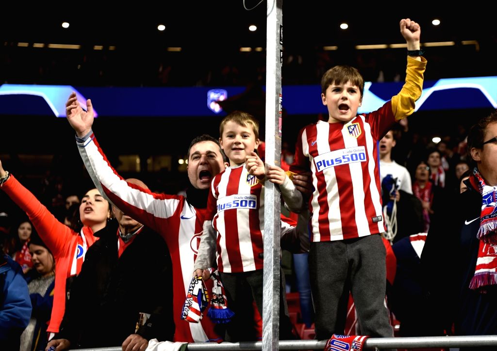 MADRID, Feb. 21, 2019 - Fans of Atletico de Madrid celebrate victory after the UEFA Champions League match between Spanish team Atletico de Madrid and Italian team Juventus in Madrid, Spain, Feb. 20, ...