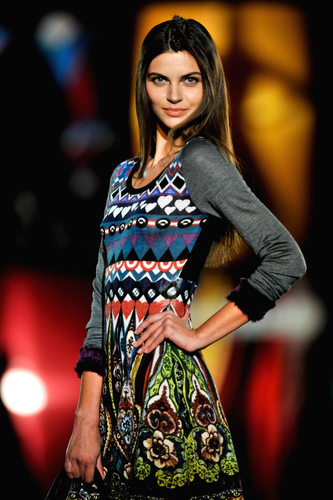 A model presents the Autumn/Winter 2015 design by Desigual during the Madrid Fashion Week in Madrid, Spain, Feb. 6, 2015.