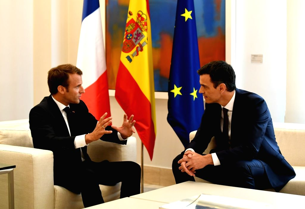 MADRID, July 27, 2018 - Spanish Prime Minister Pedro Sanchez (R) meets with French President Emmanuel Macron in Madrid, Spain on July 26, 2018. - Pedro Sanchez