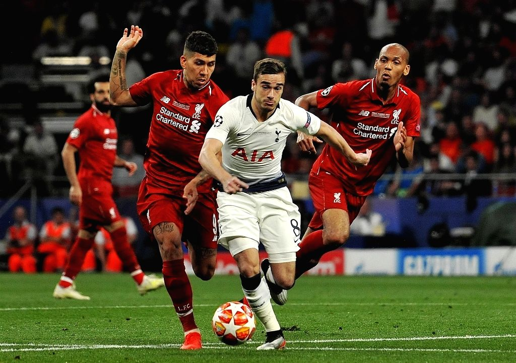 MADRID, June 2, 2019 - Hotspur's Harry Winks (C) competes with Liverpool's Fabinho (R) and Roberto Firmino during the UEFA Champions League final match between two British teams Liverpool and ...