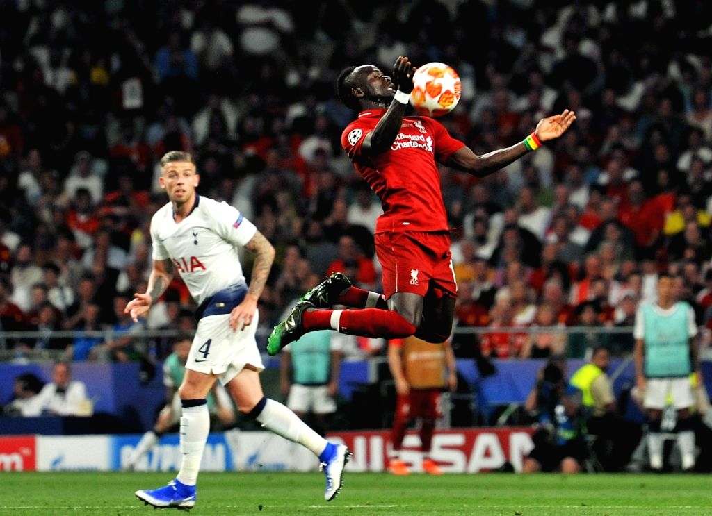 MADRID, June 2, 2019 - Liverpool's Sadio Mane (R) competes during the UEFA Champions League final match between two British teams Liverpool and Tottenham Hotspur in Madrid, Spain, on June 1, 2019. ...