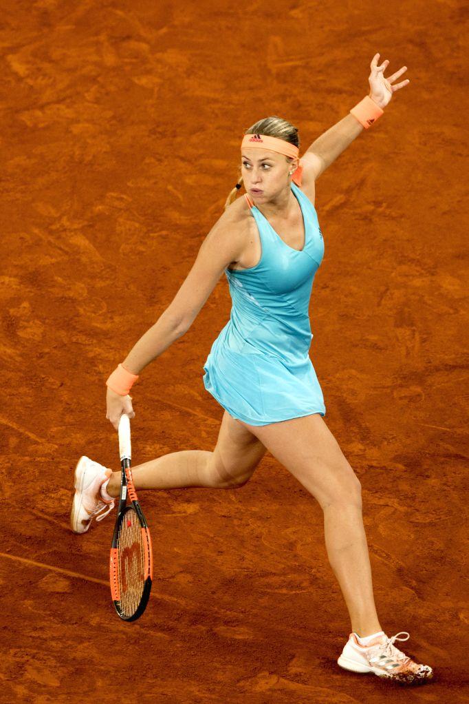 MADRID, May 13, 2017 - Kristina Mladenovic of France returns the ball during the Mutua Madrid Open WTA semifinal match against Svetlana Kuznetsova of Russia in Madrid, Spain, May 12, 2017. Kristina ...