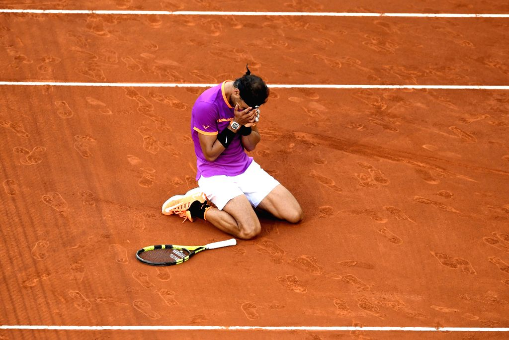 MADRID, May 15, 2017 - Spain's Rafael Nadal celebrates victory after the men's final against Austria's Dominic Thiem at the Mutua Madrid Open tennis tournament in Madrid, Spain, May 14, 2017. Rafael ...