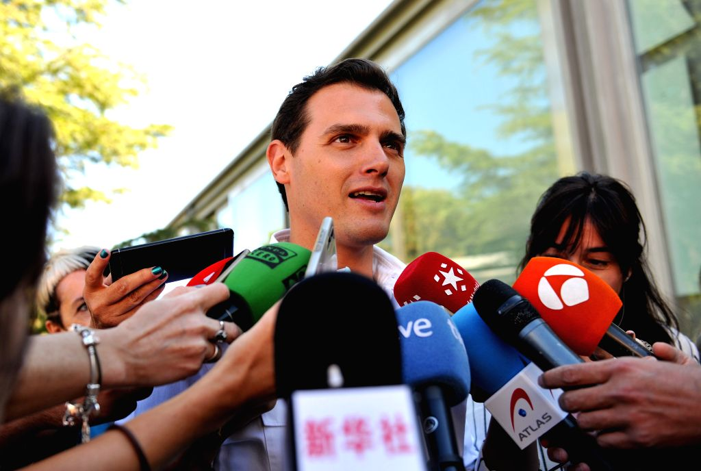 MADRID, May 26, 2019 - Albert Rivera, leader of the center-right Ciudadanos party, speaks to media after voting at a polling station in Madrid, Spain, May 26, 2019. The European Parliament (EU) ...