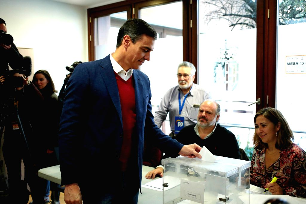MADRID, Nov. 10, 2019 - Spain's Acting Prime Minister Pedro Sanchez casts his ballot at a polling station in Pozuelo de Alarcon, Spain, Nov. 10, 2019. Spain's polling stations opened on Sunday at 9 ... - Pedro Sanchez
