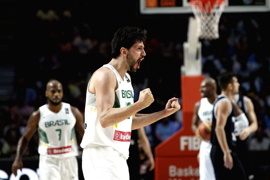 Guilherme Giovannoni of Brazil jubilates during the Round of 16 match against Argentina at the 2014 FIBA Basketball World Cup in Madrid, Spain, on Sept. 7, 2014. ...