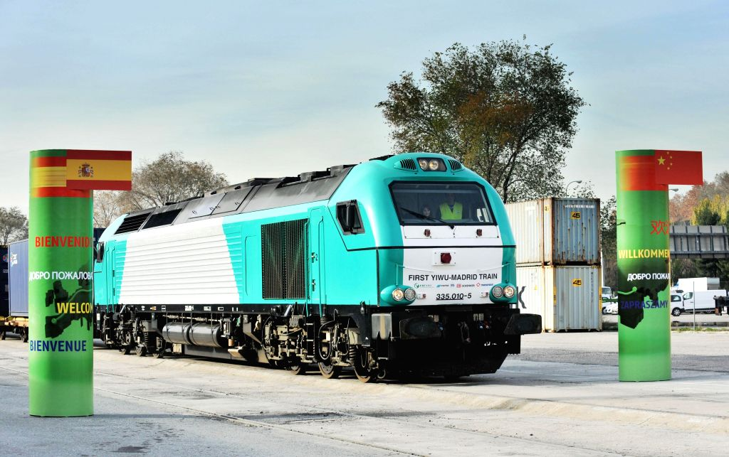 """Madrid (Spain): The train, named """"Yixinou"""" arrives in Madrid Abronigal railway station in Madrid, Spain, on Dec. 9, 2014. Madrid was the final destination on Tuesday for a train which has .."""