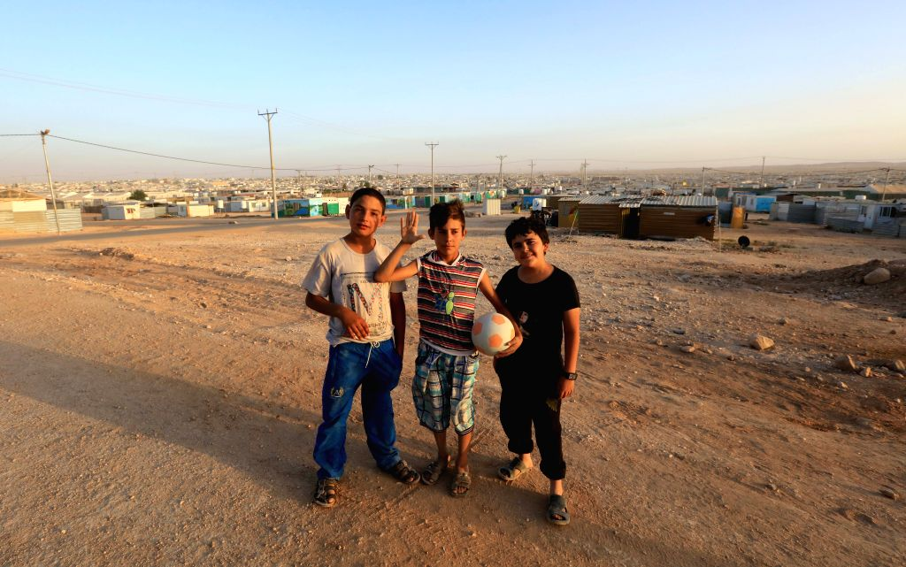 MAFRAQ, June 20, 2017 - Syrian refugee children are seen at Zaatari Syrian refugee camp near the city of Mafraq, Jordan on June 19, 2017.