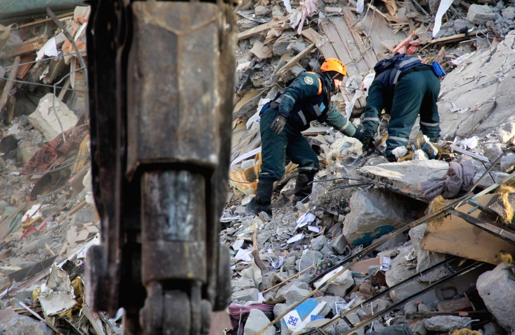 MAGNITOGORSK, Jan. 3, 2019 - Russian Emergency Situations Ministry personel work at the explosion-rocked residential building in the city of Magnitogorsk, Russia, Jan. 2, 2019. A household gas ...