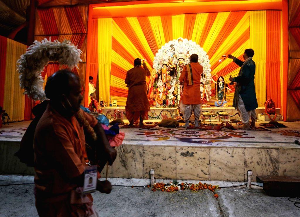 Maha Ashtami celebrations underway at Delhi's CR Park, on Oct 24, 2020.