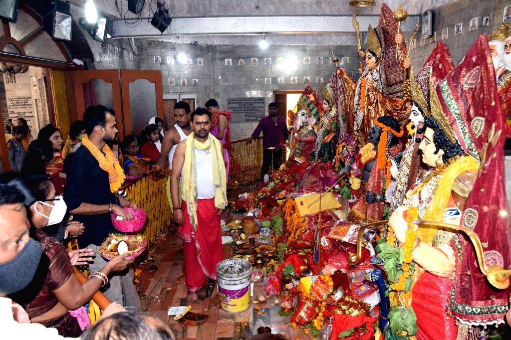 Maha Ashtami celebrations underway at Thakurbari in Patna on Oct 24, 2020.