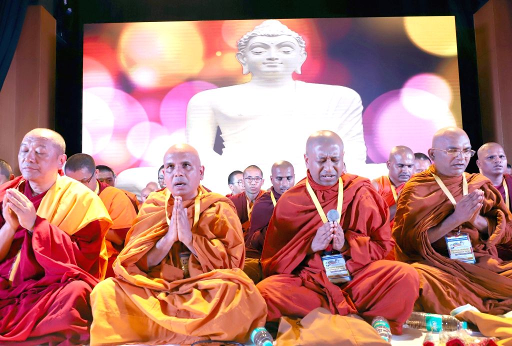 Maha Bodhi Society Vice President Anand Bhanteji with Buddhist monks during National Buddhist Conference 2018, organised by Karnataka Bouddha Samaja, in Bengaluru on July 14, 2018.