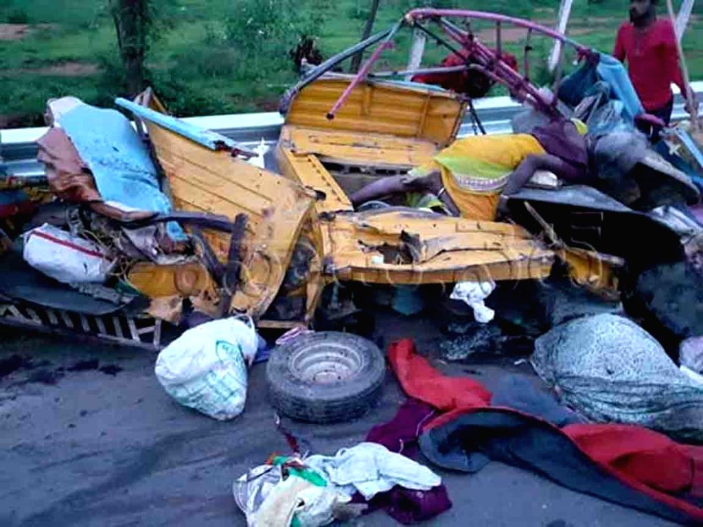 Mahabubnagar: The mangled remains of an overcrowded autorickshaw after it collided with a truck near Kothapalle village in Midjil 'mandal' of Telangana's Mahabubnagar district on Aug 4, 2019. Reportedly twelve labourers were killed and six others inj