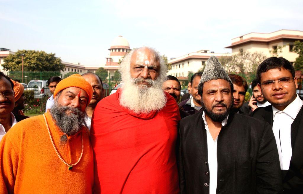 Mahant Dharam Das and self-proclaimed descendant of Mughal emperor Bahadur Shah Zafar, Prince Yakub Habeebuddin Tucy outside the Supreme Court after a hearing on the Babri Masjid- Ram ... - Bahadur Shah Zafar
