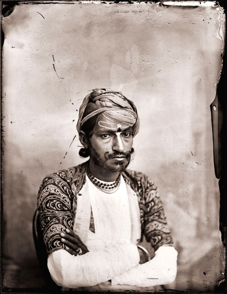 Maharaja Sawai Ram Singh II, Self-portrait with folded arms, Modern digital reprint from wet collodion glass plate negative, c. 1870 CE.