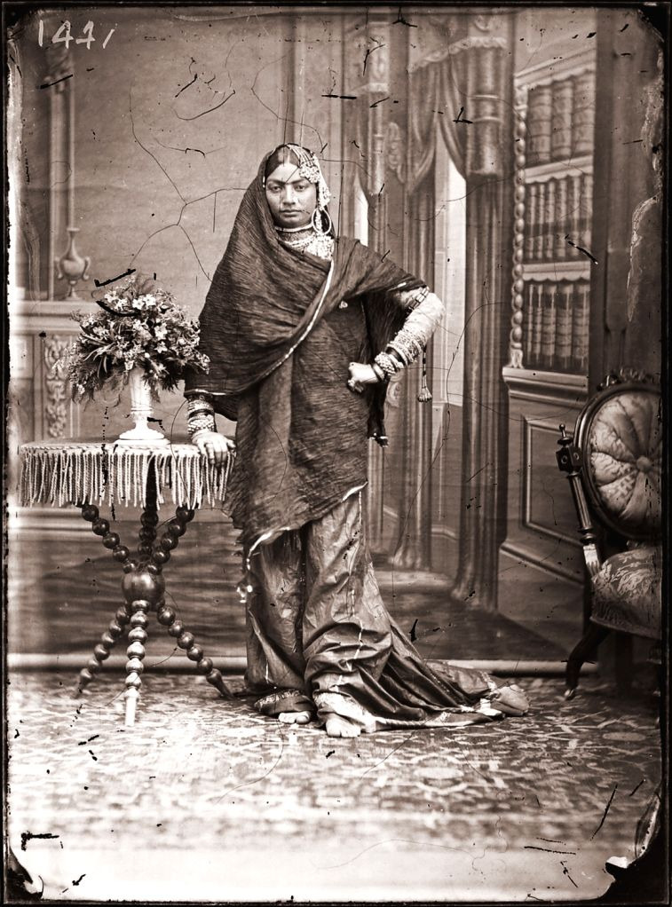 Maharaja Sawai Ram Singh II, Unidentified woman of the zenana, Modern digital reprint from wet collodion glass plate negative, c. 1870 CE.