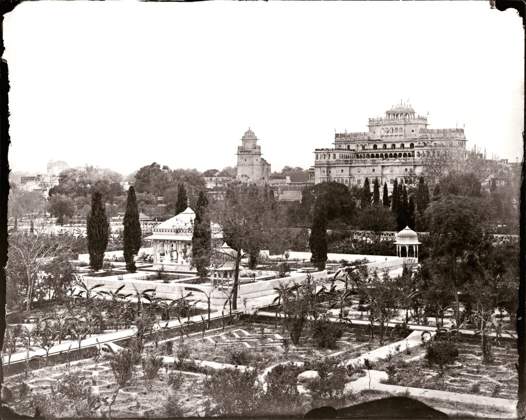 Maharaja Sawai Ram Singh II, View of the Chandra Mahal from the garden in the City Palace, Modern digital reprint from wet collodion glass plate negative, c. 1870 CE.