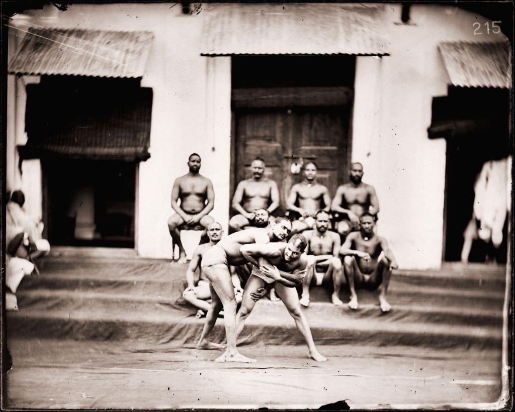 Maharaja Sawai Ram Singh II, Wrestlers in an akhara, Modern digital reprint from wet collodion glass plate negative, c. 1870 CE.