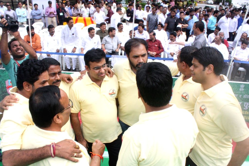 Maharashtra Assembly MLAs during a football match at Assembly ground in Mumbai on Aug 10, 2017.