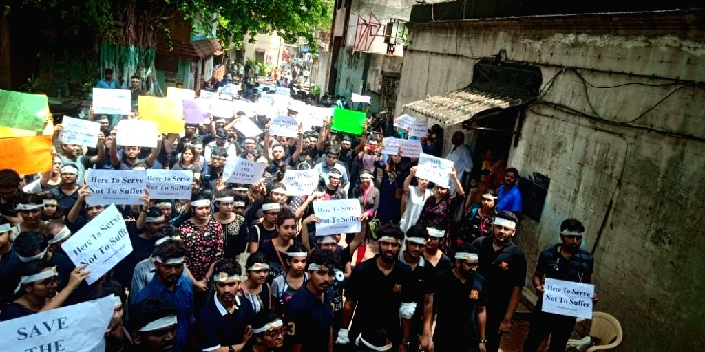 Maharashtra Association of Resident Doctors (MARD) who are observing a one-day strike, stage a demonstration outside the King Edward Memorial Hospital to express solidarity with the doctors ...