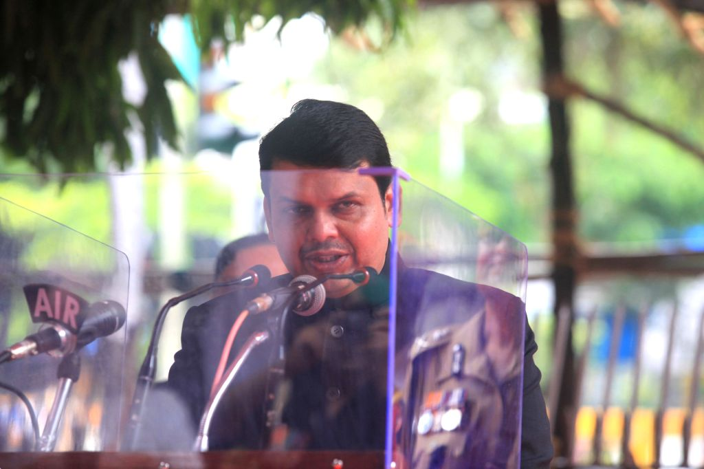 Maharashtra Chief Minister Devendra Fadnavis addresses on the occasion of 69th ``Independence Day`` celebration in Mumbai, on Aug 15, 2015.