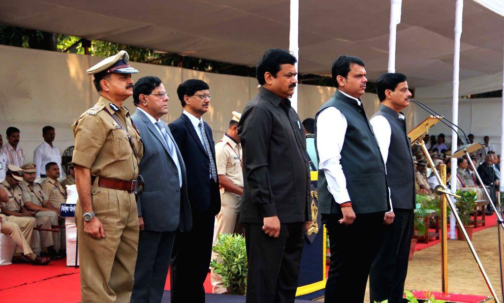 Maharashtra Chief Minister Devendra Fadnavis during Police Commemoration Day Parade in Mumbai, on Oct 21, 2015. - Devendra Fadnavis