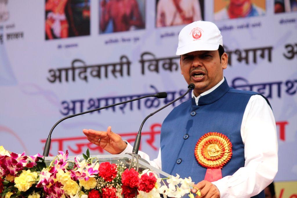 Maharashtra Chief Minister Devendra Fadnavis addresses during the inauguration of the Adivasi Development Department`s Hermitage Students, State level Sports Competition in Nagpur, on Jan 15, ... - Devendra Fadnavis