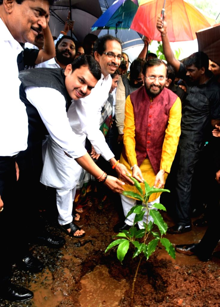 Maharashtra Chief Minister Devendra Fadnavis, Union Environment Minister Prakash Javadekar and Shiv Sena chief Uddhav Thackeray plant saplings to mark 'Vanamahotsav' - forest festival - at ... - Devendra Fadnavis