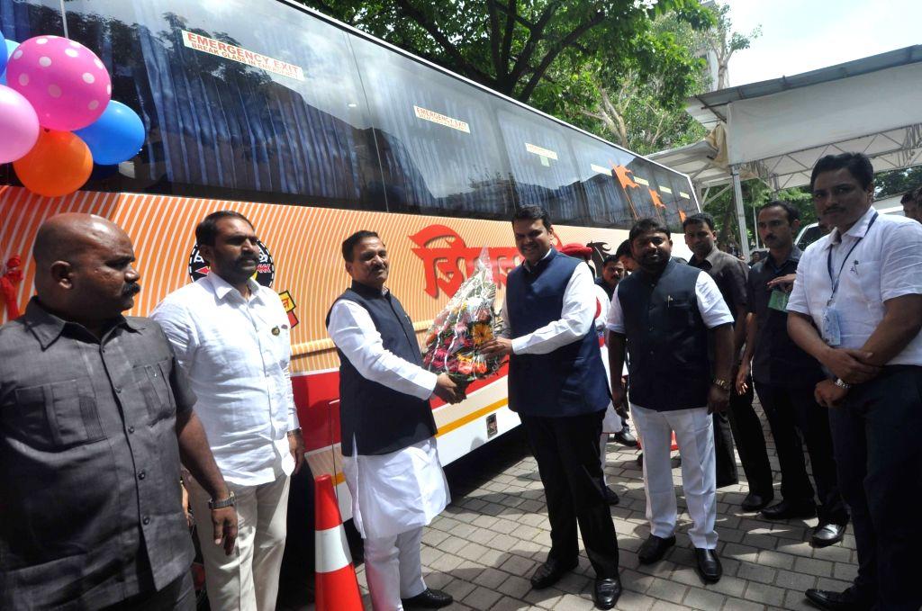 Maharashtra Chief Minister Devendra Fadnavis launches 'Shivshahi' buses - a fleet of luxury buses for intra-state connectivity in Mumbai on Aug 11, 2017. - Devendra Fadnavis