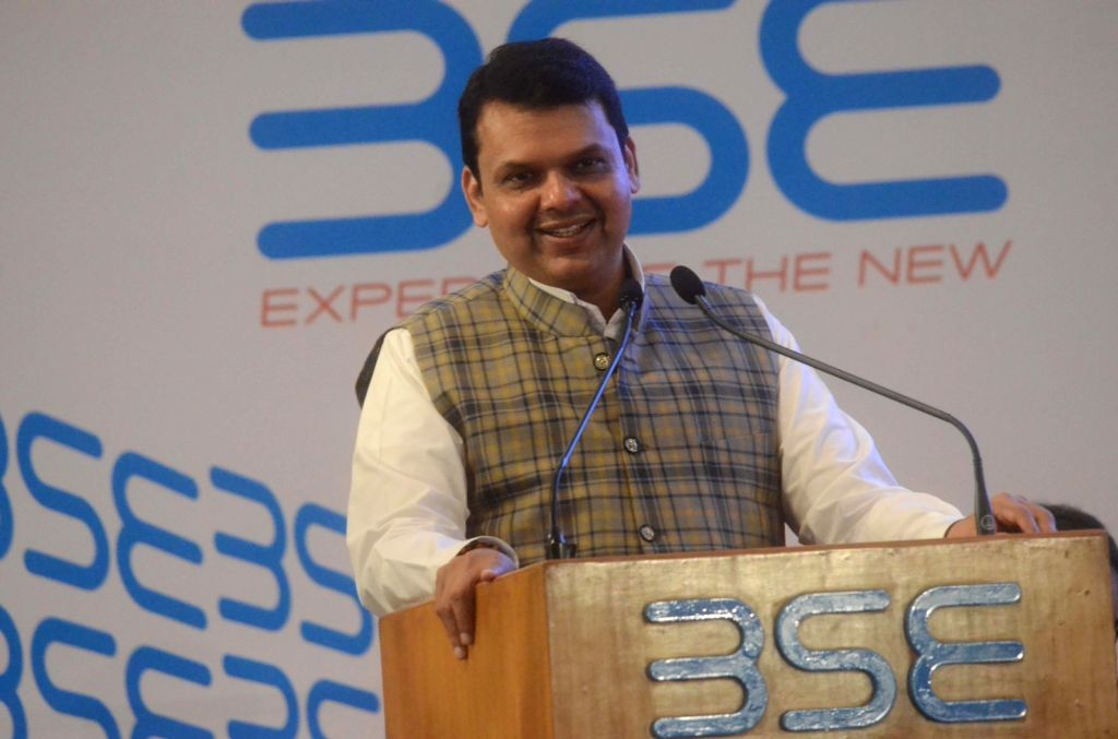 Maharashtra Chief Minister Devendra Fadnavis addresses during the bell ringing ceremony at the listing of two hundred companies on Bombay Stock Exchange (BSE) in Mumbai on Oct 5, 2017. - Devendra Fadnavis