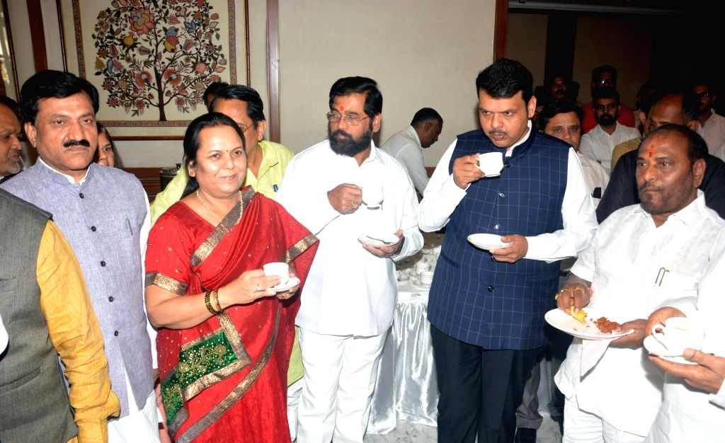 Maharashtra Chief Minister Devendra Fadnavis along with other ministers attends a tea party at Sahyadri State Guest House in Mumbai on Feb 24, 2019. - Devendra Fadnavis