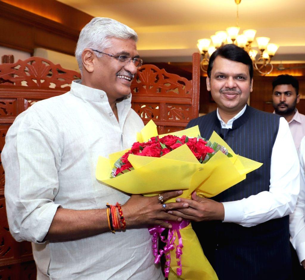 Maharashtra Chief Minister Devendra Fadnavis meets Union Jal Shakti Minister Gajendra Singh Shekhawat, in New Delhi on June 15, 2019. - Devendra Fadnavis and Gajendra Singh Shekhawat