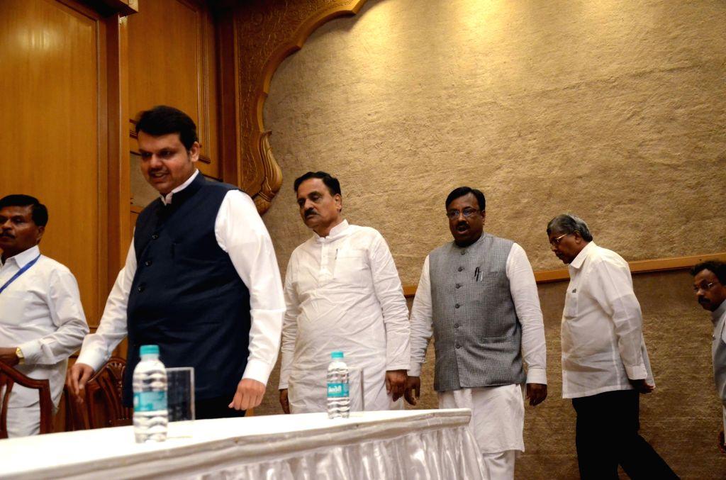 Maharashtra Chief Minister Devendra Fadnavis during a press conference regarding Maharashtra Monsoon Assembly in Mumbai on June 16, 2019. - Devendra Fadnavis