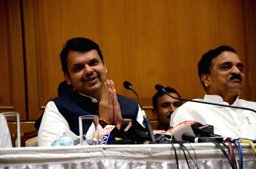 Maharashtra Chief Minister Devendra Fadnavis addresses a press conference regarding Maharashtra Monsoon Assembly in Mumbai on June 16, 2019. - Devendra Fadnavis