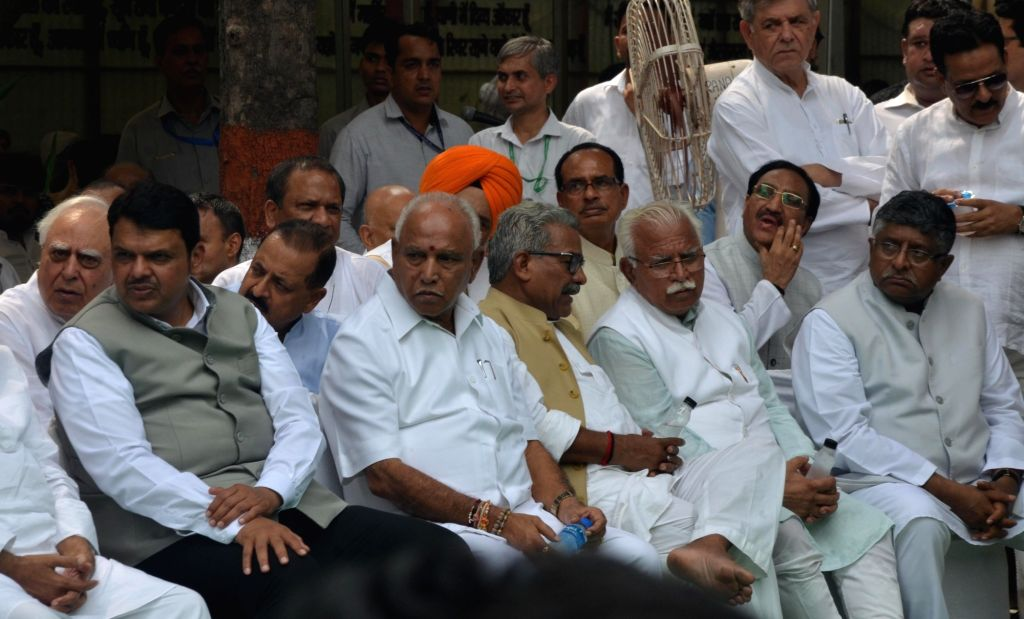 Maharashtra Chief Minister Devendra Fadnavis, Haryana Chief Minister Manohar Lal Khattar, Karnataka Chief Minister BS Yediyurappa and Union Minister Ravi Shankar Prasad attend the last ... - Devendra Fadnavis, Manohar Lal Khattar and Arun Jaitley
