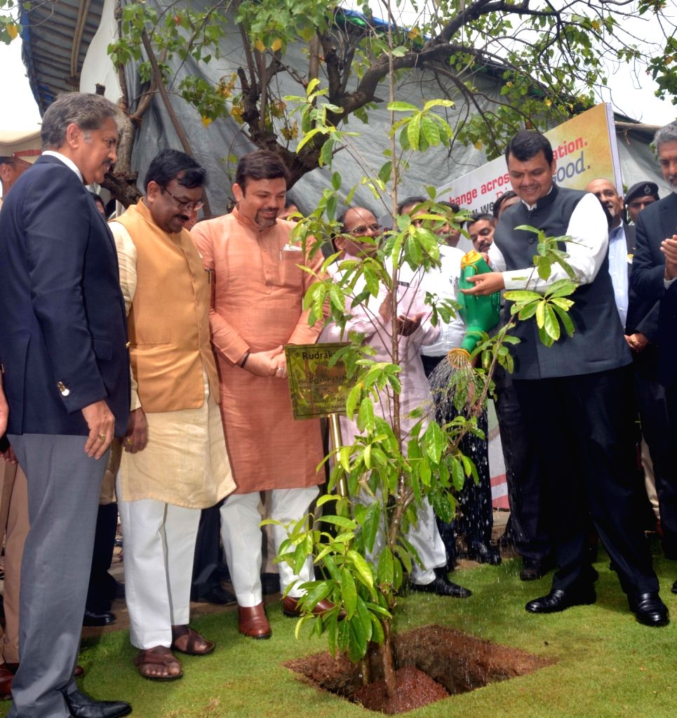 Maharashtra Chief Minister Devendra Fadnavis and Mahindra and Mahindra Group Chairman and Managing Director Anand Mahindra plant a sapling during a programme in Maumbai on July 5, 2017. - Devendra Fadnavis
