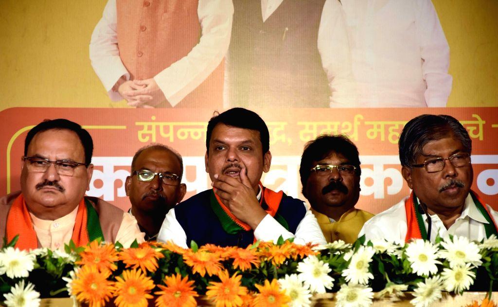 Maharashtra Chief Minister Devendra Fadnavis at the launch of BJP manifesto for upcoming state assembly polls in Mumbai on Oct 15, 2019. - Devendra Fadnavis