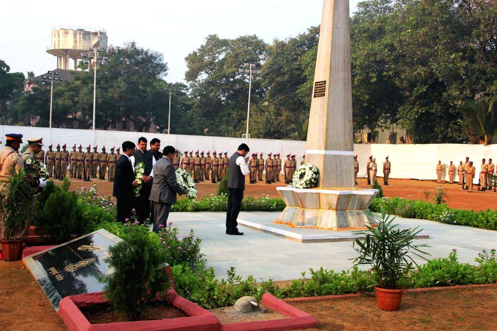 Maharashtra Chief Minister Devendra Fadnavis pays tribute to martyrs during Police Commemoration Day Parade in Mumbai, on Oct 21, 2015. - Devendra Fadnavis