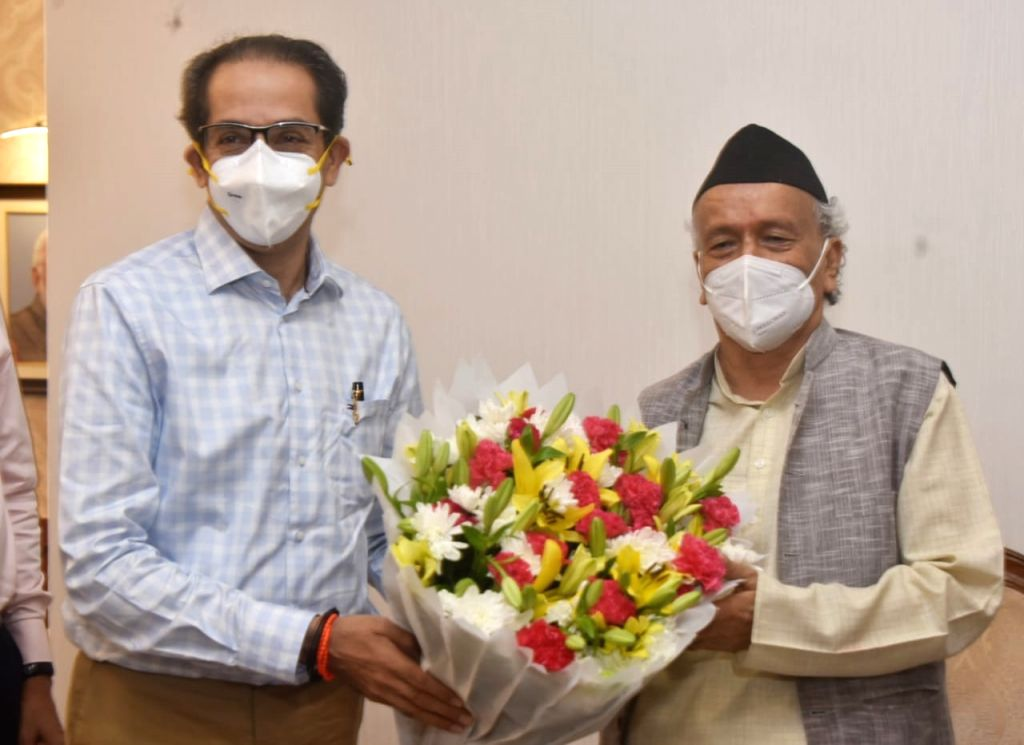 Maharashtra Chief Minister Uddhav Thackeray called on Governor Bhagat Singh Koshyari to greet him on the latter's 79th Birthday, today. - Uddhav Thackeray and Bhagat Singh Koshyari