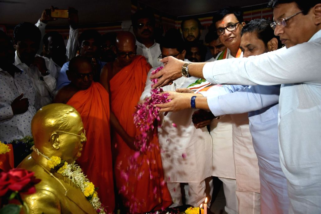 Maharashtra Congress chief Balasaheb Thorat visits Chaitya Bhoomi in Mumbai on July 18, 2019.