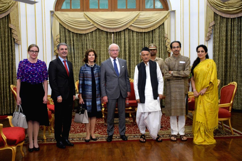 Maharashtra Governor BS Koshyari and Chief Minister Uddhav Thackeray with Swedish King Carl XVI Gustaf and Queen Silvia and Sweden's Business, Industry and Innovation Minister Ibrahim Baylan ... - Uddhav Thackeray