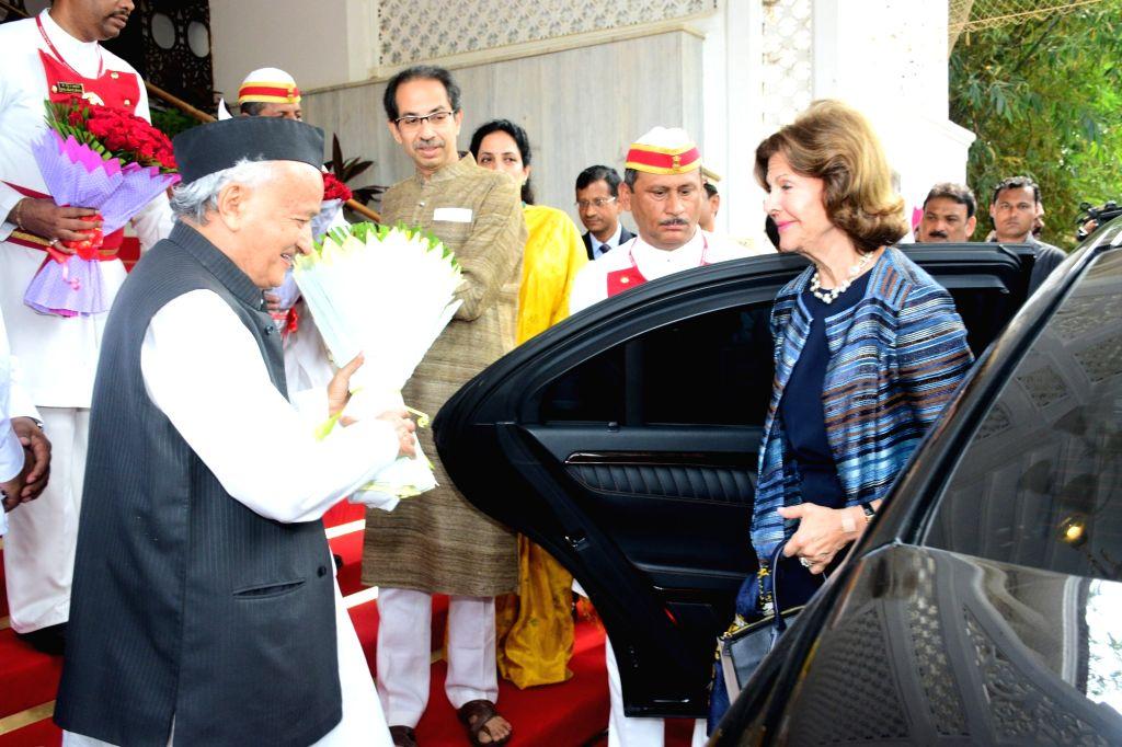Maharashtra Governor BS Koshyari and Chief Minister Uddhav Thackeray welcome Queen Silvia of Sweden at Raj Bhavan in Mumbai on Dec 4, 2019. - Uddhav Thackeray