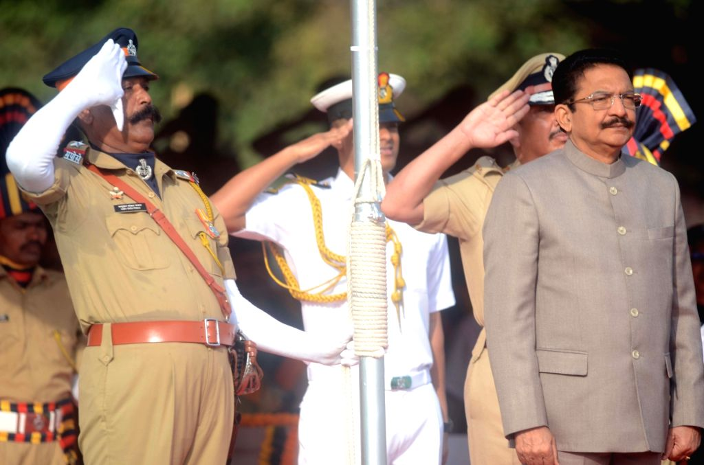 Maharashtra Governor C.H. Vidyasagar Rao receives the Guard of Honour during Maharashtra Foundation day at Shivaji Park, in Mumbai's Dadar, on May 1, 2019. - H. Vidyasagar Rao
